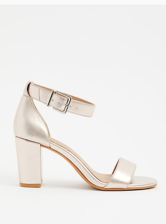 Rose Gold Faux Leather Ankle Strap Tapered Heel (WW), , hi-res