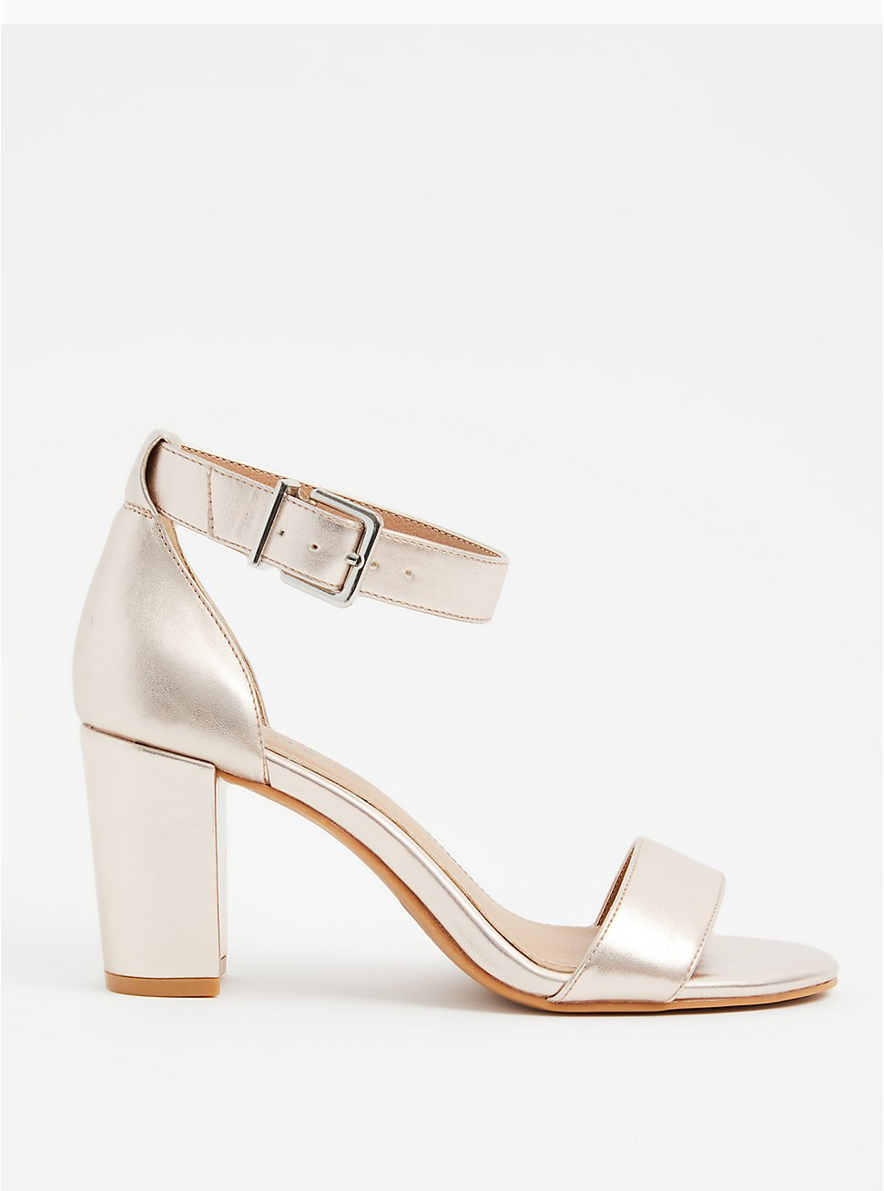 Rose Gold Faux Leather Ankle Strap Tapered Heel (WW), ROSE GOLD, hi-res