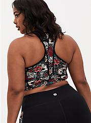 Black Tattoo Print Racerback Wicking Sports Bra , MULTI, alternate
