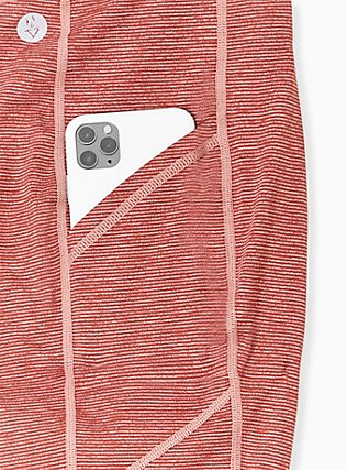 Plus Size Coral Space-Dye Wicking Crop Active Legging with Pockets, CORAL, alternate