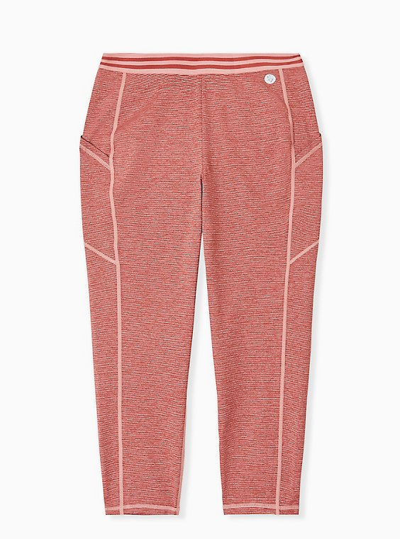 Dusty Coral Space-Dye Wicking Crop Active Legging with Pockets, CORAL, hi-res
