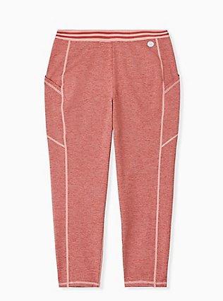 Plus Size Coral Space-Dye Wicking Crop Active Legging with Pockets, CORAL, hi-res
