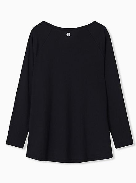 Black Long Sleeve Wicking Active Tunic Tee, DEEP BLACK, alternate