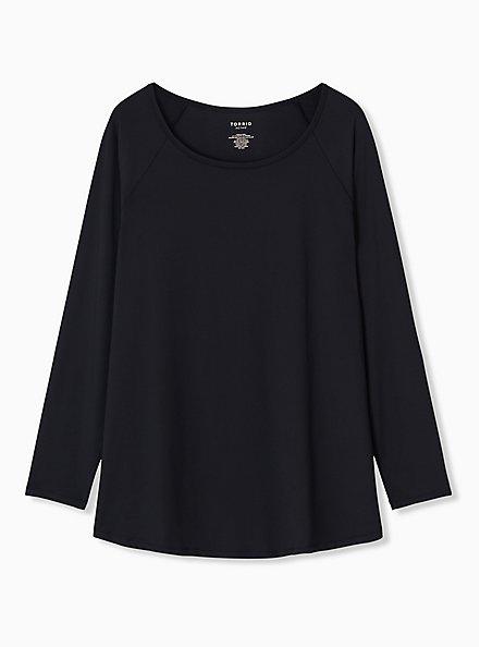 Black Long Sleeve Wicking Active Tunic Tee, DEEP BLACK, hi-res
