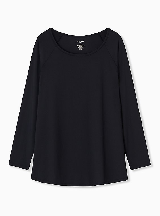 Black Long Sleeve Wicking Active Tunic Tee, , hi-res