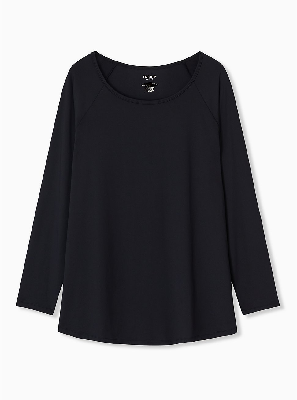 Black Long Sleeve Wicking Active Tunic Tee, DEEP BLACK, hi-res