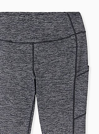 Charcoal Grey Space-Dye Wicking Capri Active Legging with Pockets, MULTI, alternate