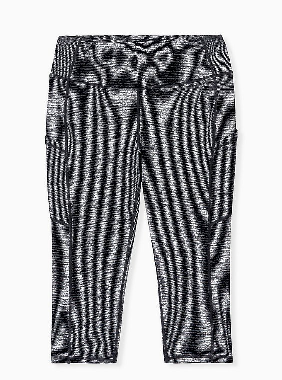 Charcoal Grey Space-Dye Wicking Capri Active Legging with Pockets, , hi-res