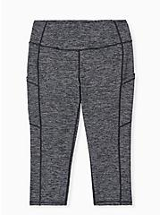 Charcoal Grey Space-Dye Wicking Capri Active Legging with Pockets, MULTI, hi-res