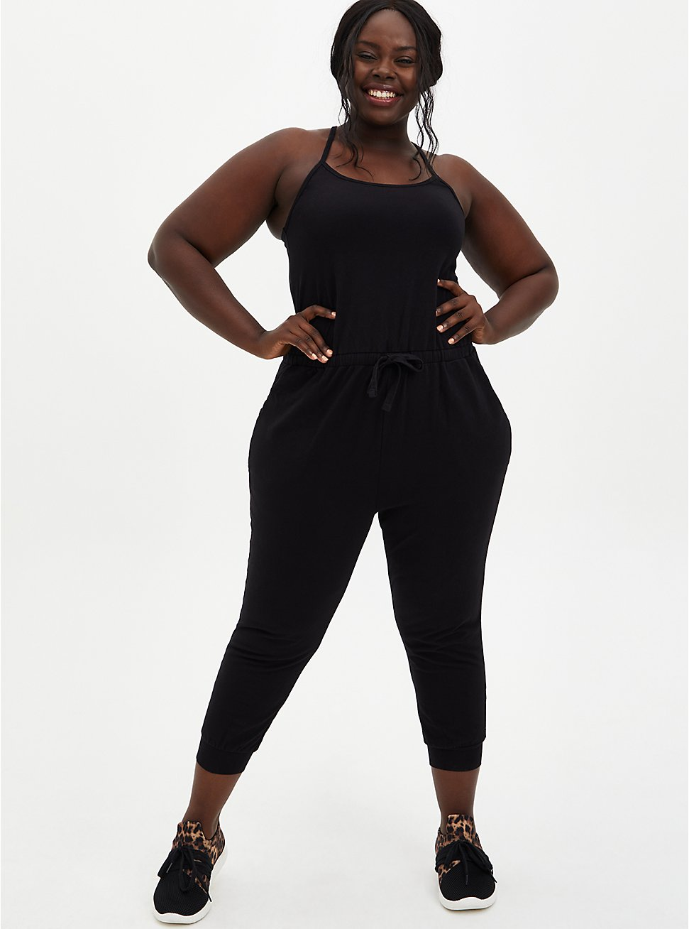 Black Crisscross Back Crop Active Jumpsuit , DEEP BLACK, hi-res