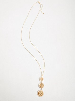 Gold-Tone Filigree & Faux Pearl Pendant Necklace, , alternate