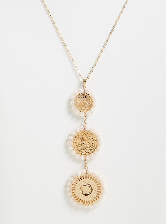 Plus Size Gold-Tone Filigree & Faux Pearl Pendant Necklace, , hi-res