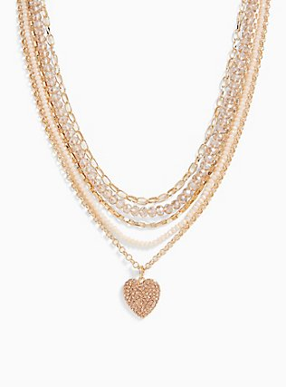 Gold-Tone Beaded Heart Layered Necklace, , alternate
