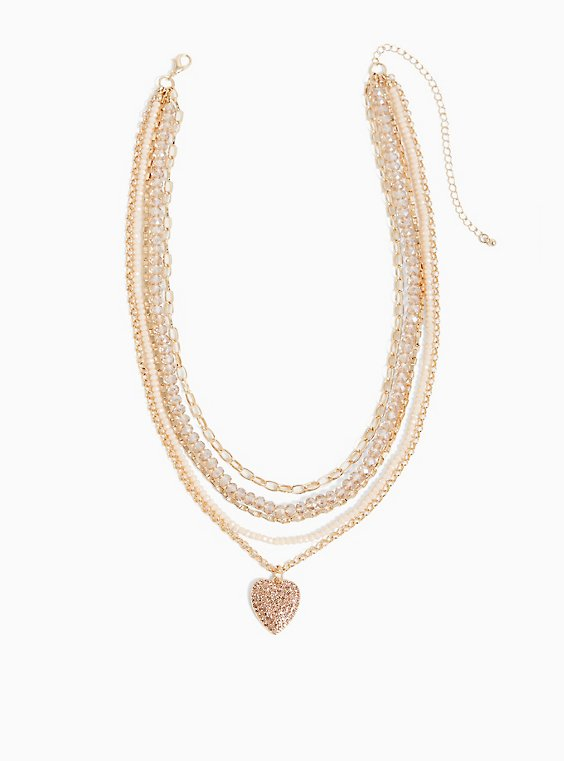 Plus Size Gold-Tone Beaded Heart Layered Necklace, , hi-res
