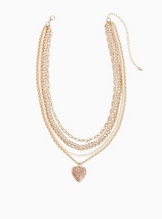 Gold-Tone Beaded Heart Layered Necklace, , hi-res