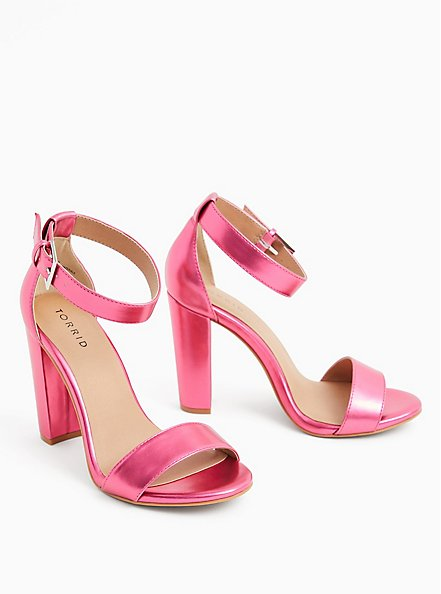 Staci - Metallic Pink Faux Leather Ankle Strap Tapered Heel (WW), PINK, alternate