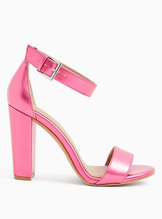Metallic Pink Faux Leather Ankle Strap Tapered Heel (WW), , hi-res