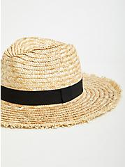 Tan Straw Contrast Band Fedora, NATURAL, alternate