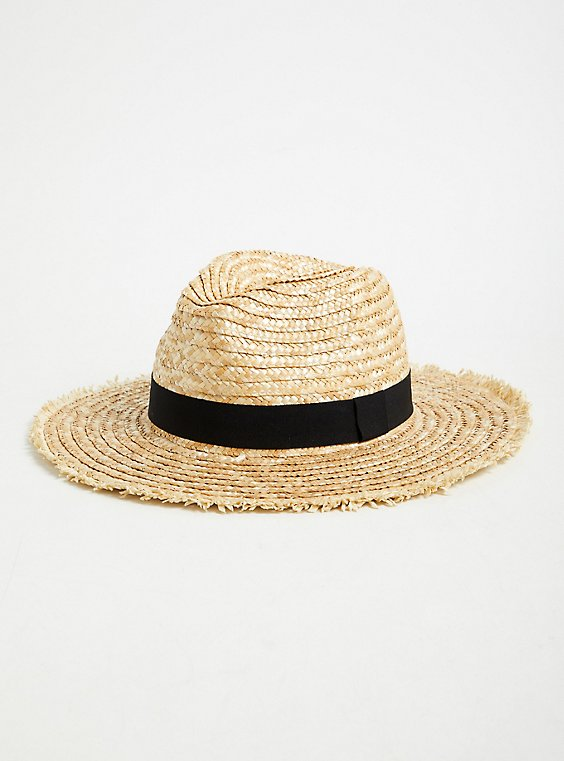 Tan Straw Contrast Band Fedora, , hi-res