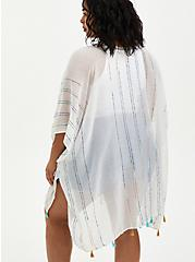Ivory & Rainbow Stripe Fringe Ruana  , , alternate