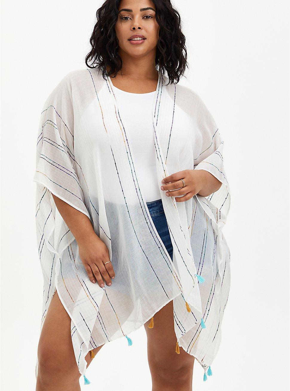 Ivory & Rainbow Stripe Fringe Ruana  , , hi-res