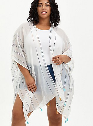 Plus Size Ivory & Rainbow Stripe Fringe Ruana  , , hi-res