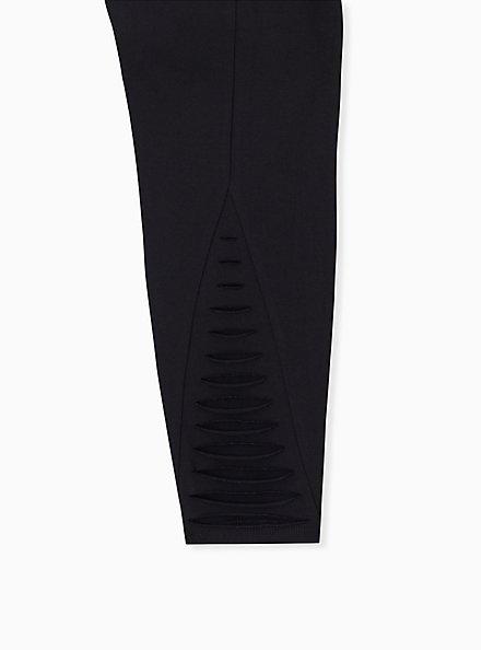 Premium Legging - Ladder Slashed Back Black, BLACK, alternate