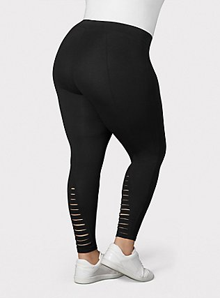 Premium Legging - Ladder Slashed Back Black, BLACK, hi-res