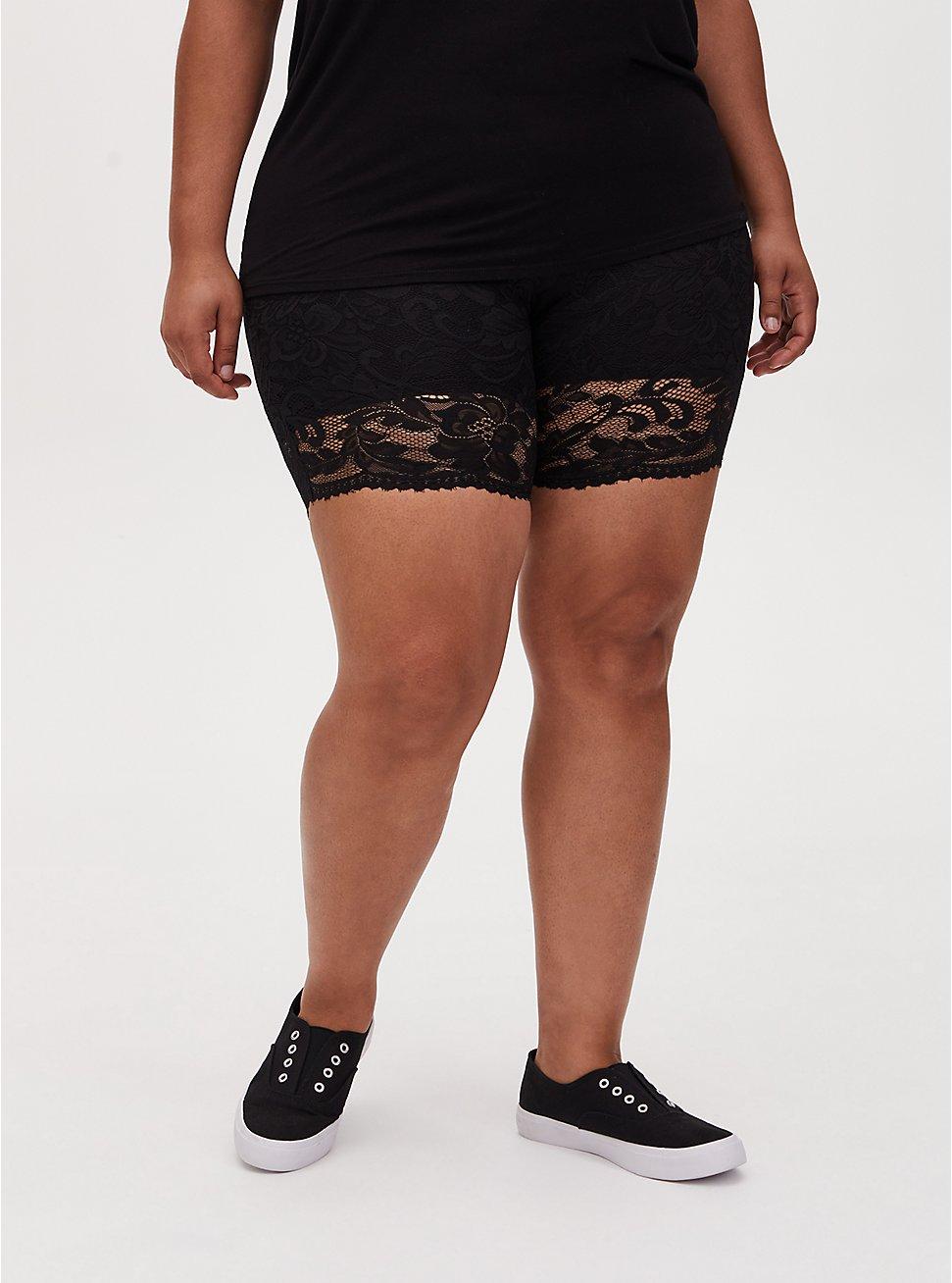 Plus Size Black Lace Bike Short, BLACK, hi-res