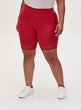 Red Lace Trim Bike Short, RED, alternate