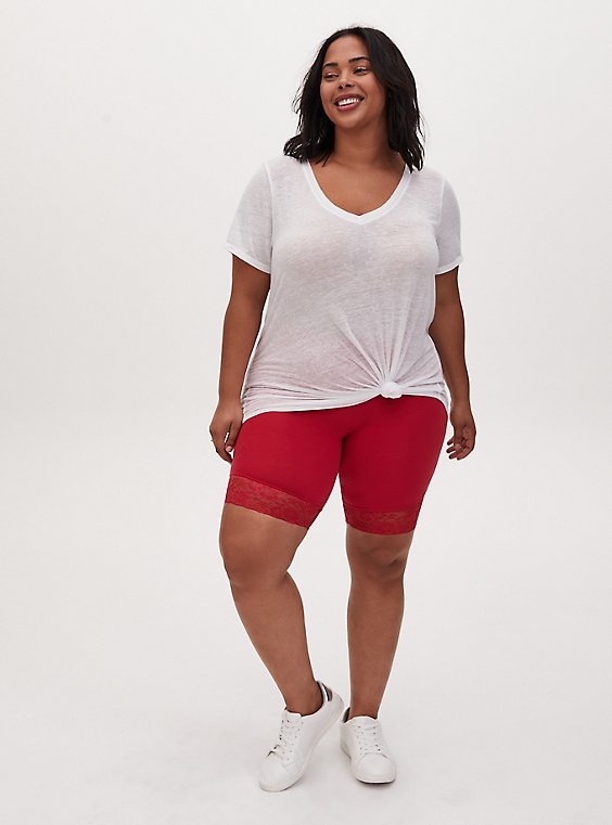 Plus Size Red Lace Trim Bike Short, , hi-res