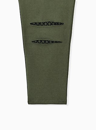 Premium Legging - Slashed Fishnet Black Underlay Olive Green, GREEN, alternate