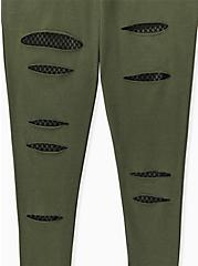 Plus Size Premium Legging - Slashed Fishnet Black Underlay Olive Green, GREEN, alternate
