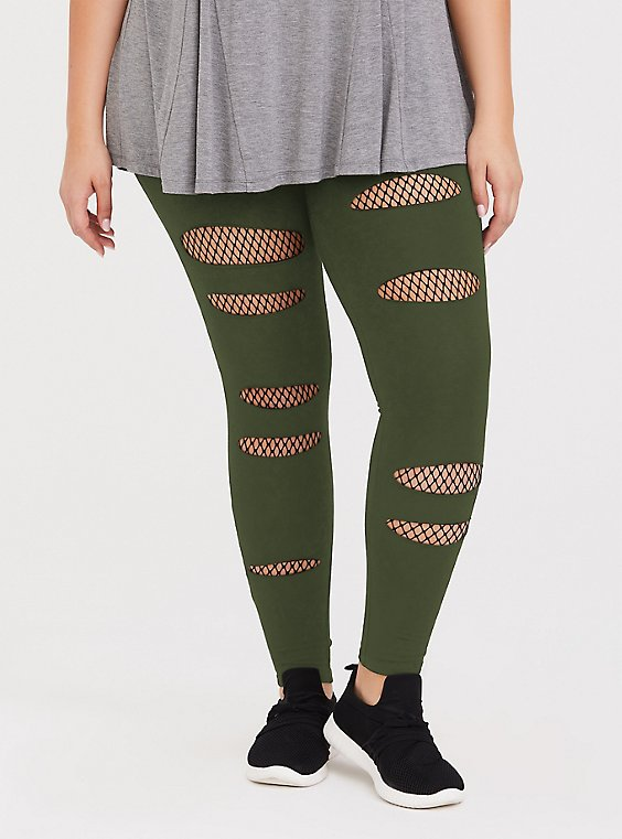 Plus Size Premium Legging - Slashed Fishnet Black Underlay Olive Green, GREEN, hi-res
