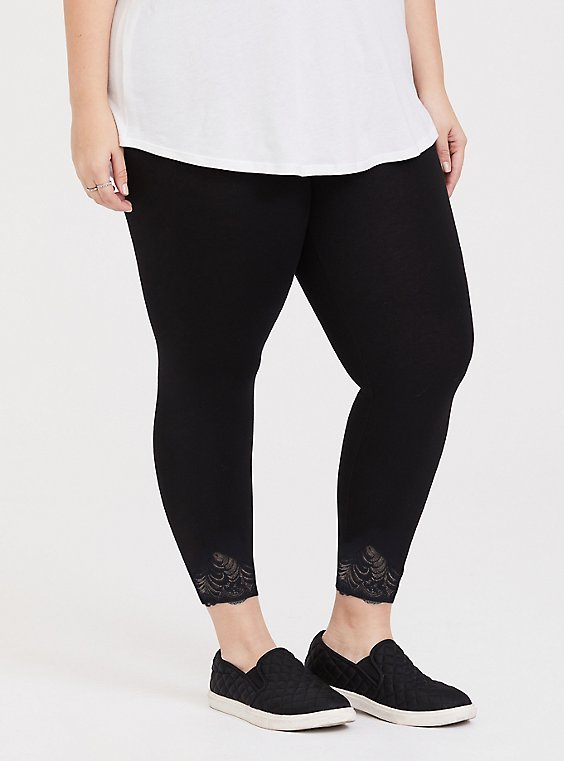 Crop Premium Legging - Scalloped Hem Black, , hi-res