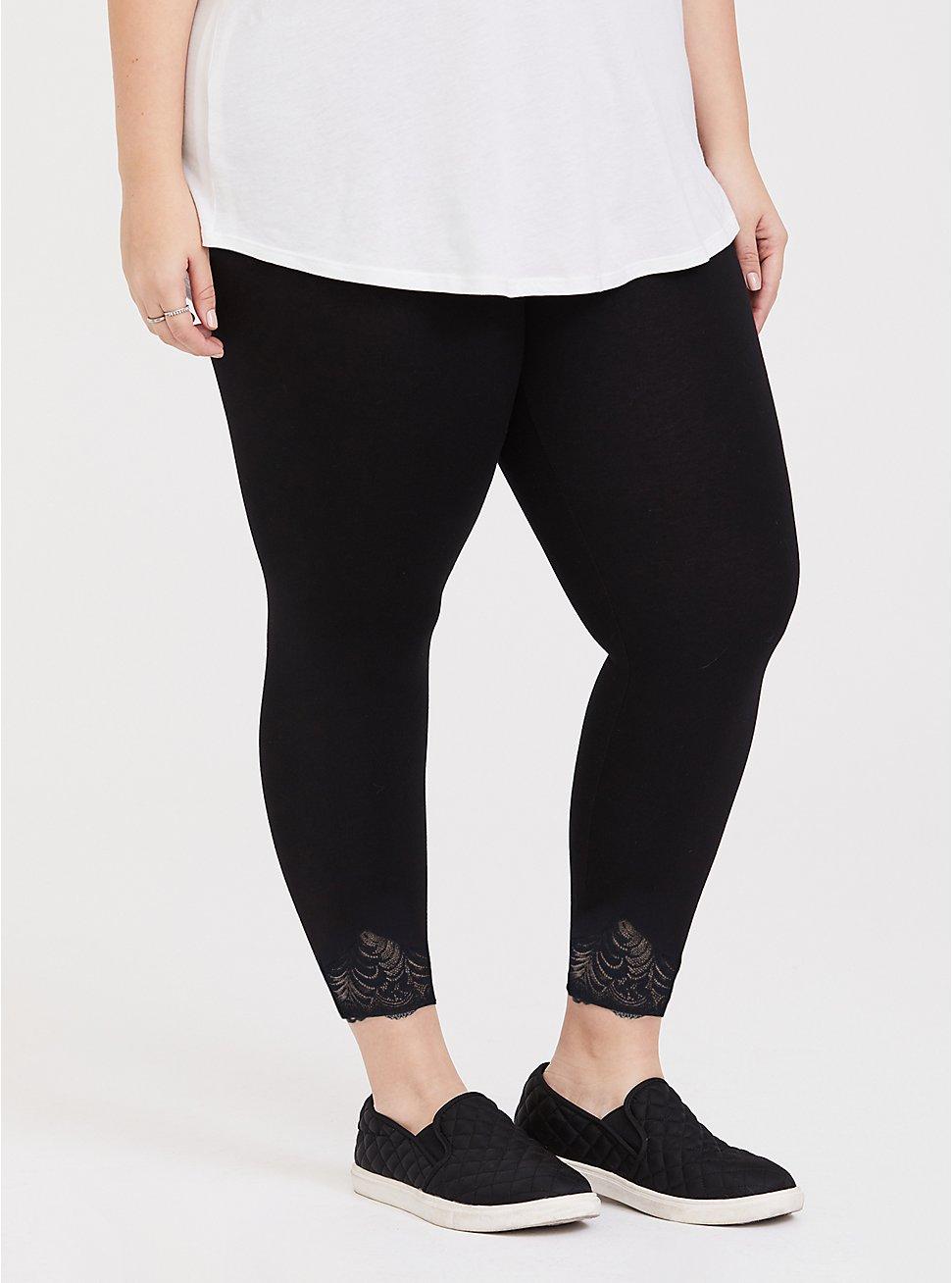 Plus Size Crop Premium Legging - Scalloped Hem Black, BLACK, hi-res