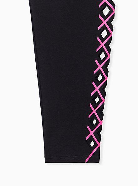 Premium Legging - Laser Cut Neon Pink & Black, BLACK, alternate