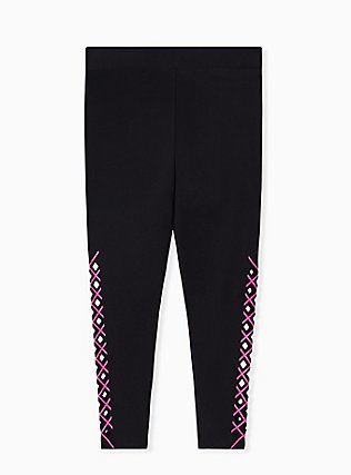 Premium Legging - Laser Cut Neon Pink & Black, BLACK, alternate