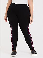 Premium Legging - Laser Cut Neon Pink & Black, BLACK, hi-res
