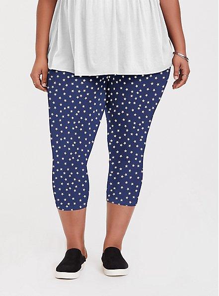 Plus Size Crop Premium Legging - Navy Star, MULTI, hi-res