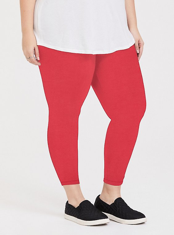 Plus Size Crop Premium Legging - Red, , hi-res