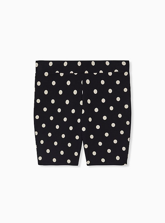Plus Size Black & White Polka Dot Bike Short, , hi-res