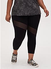 Plus Size Crop Premium Legging - Asymmetrical Shadow Stripe Black , BLACK, alternate