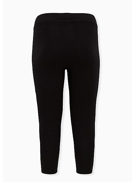 Crop Premium Legging - Asymmetrical Shadow Stripe Black , BLACK, alternate