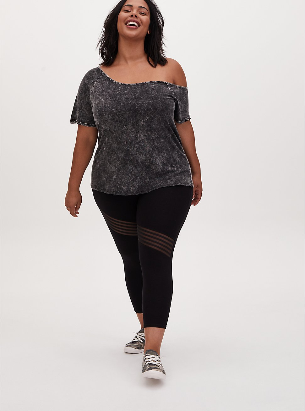 Plus Size Crop Premium Legging - Asymmetrical Shadow Stripe Black , BLACK, hi-res