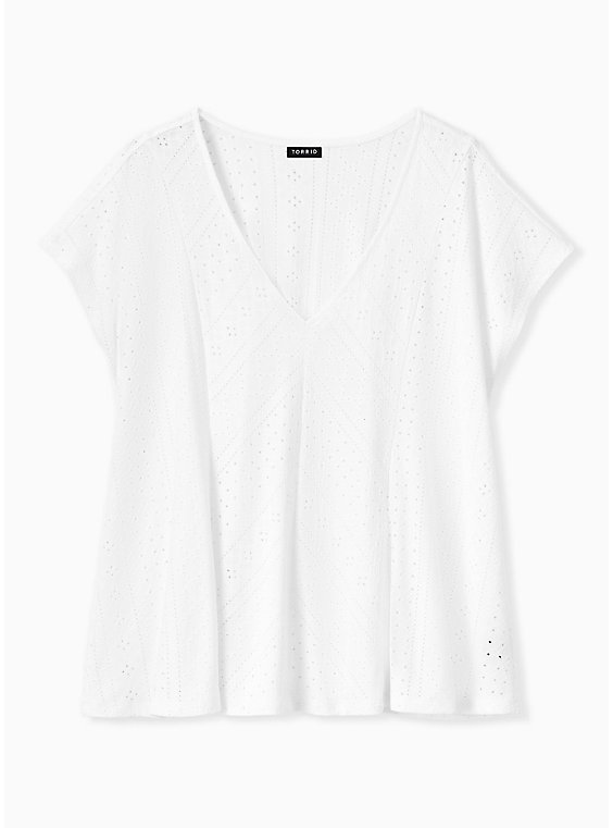 White Eyelet Fit & Flare Midi Top, , hi-res