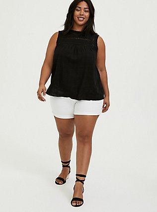 Black Textured Crochet Inset Tank, DEEP BLACK, alternate