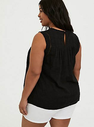 Plus Size Black Textured Crochet Inset Tank, DEEP BLACK, alternate