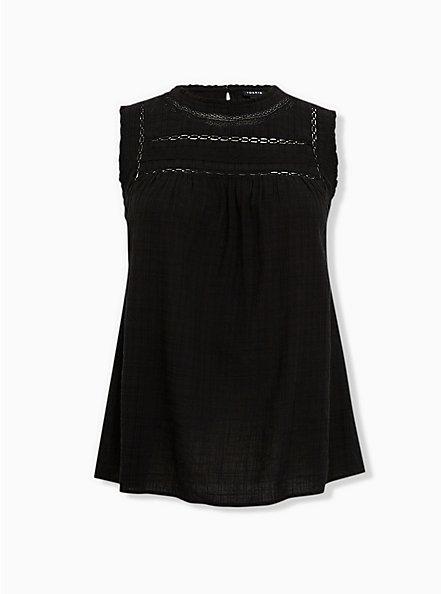 Black Textured Crochet Inset Tank, DEEP BLACK, hi-res