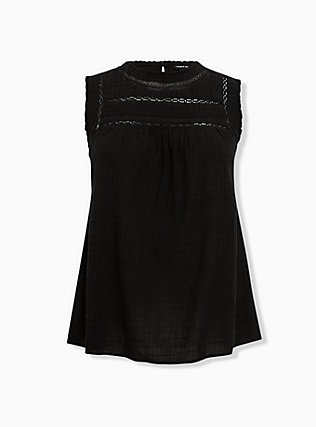 Plus Size Black Textured Crochet Inset Tank, DEEP BLACK, flat